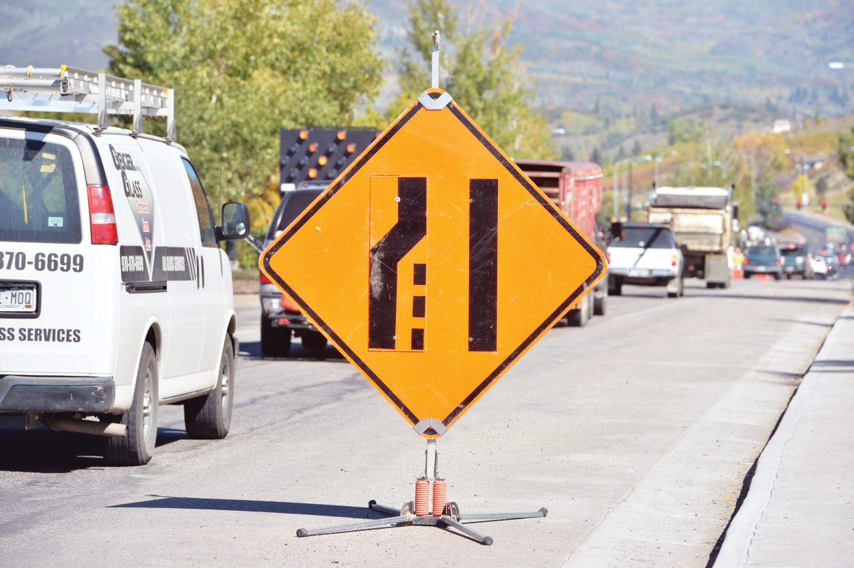A sign warns motorists to merge along U.S. Highway 40 on the east side of Steamboat Springs. Construction work on the highway is moving ahead, but for many motorists in the area, the project cannot be completed soon enough.