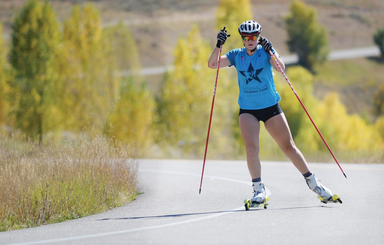 Avery Harrington makes her way along Amethyst Drive in Strawberry Park Monday afternoon. Harrington, who is a member of the Steamboat Springs Winter Sports Club, was doing a little dry-land training before she headed to volleyball practice. The multi-sport athlete skis in the winter but is also a starter on the Sailors junior varsity volleyball team and suits up for varsity games.