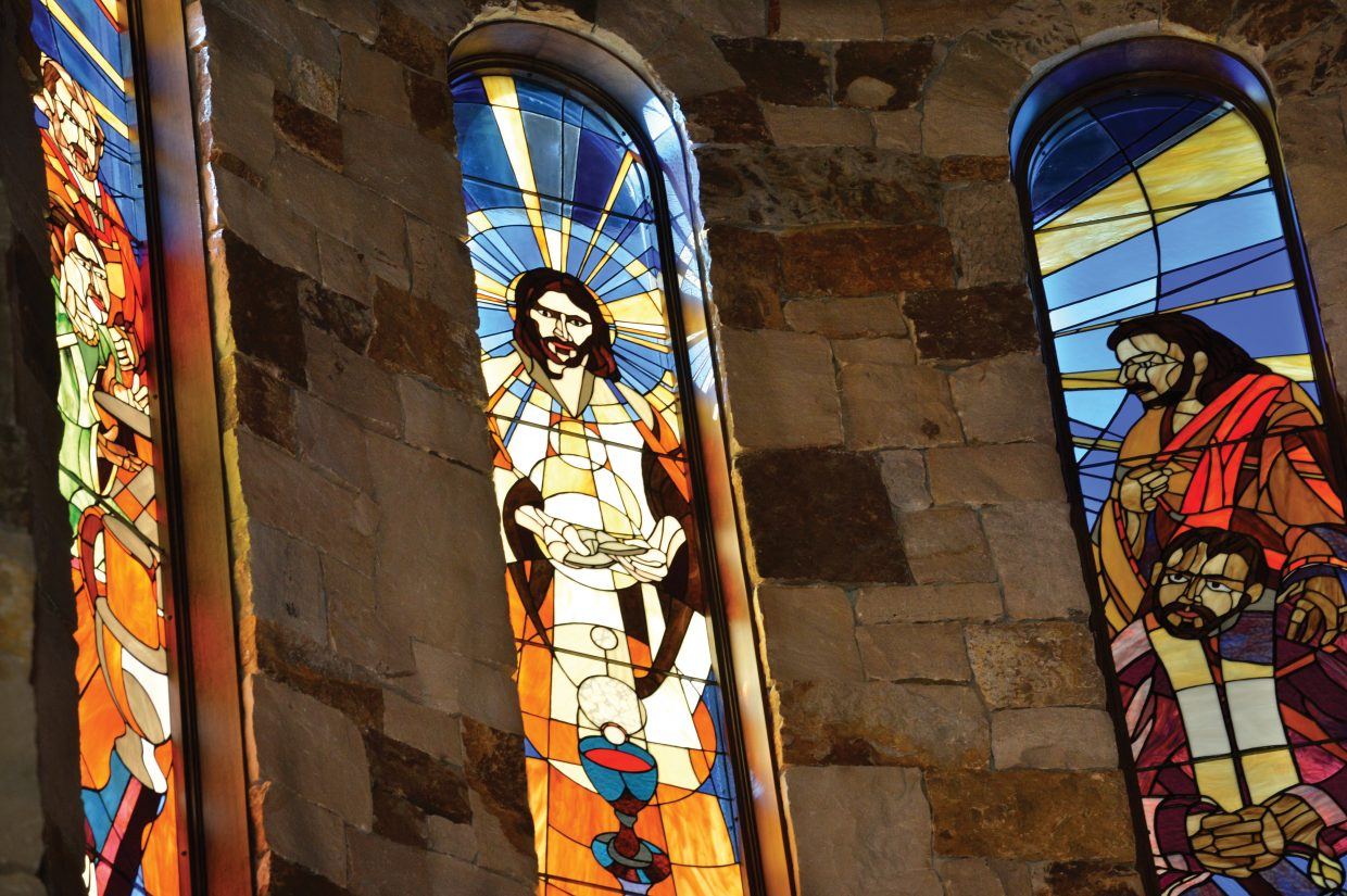 Several of the windows in the Holy Name Catholic church have already been installed. These panels, which are located behind the alter, depict the story of the last supper and, at more than 9-feet, are some of the largest windows in the entire church.