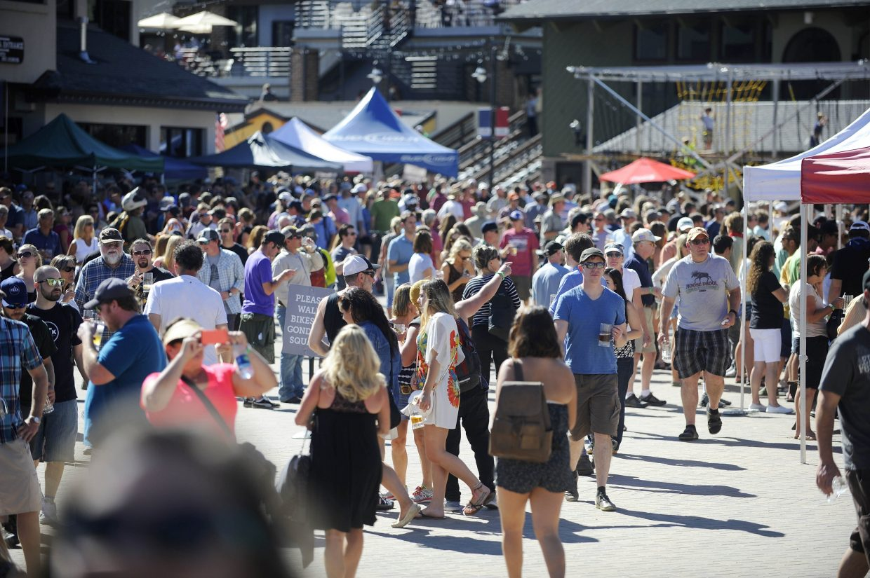 People fill Gondola Square during Steamboat OktoberWest on Saturday.