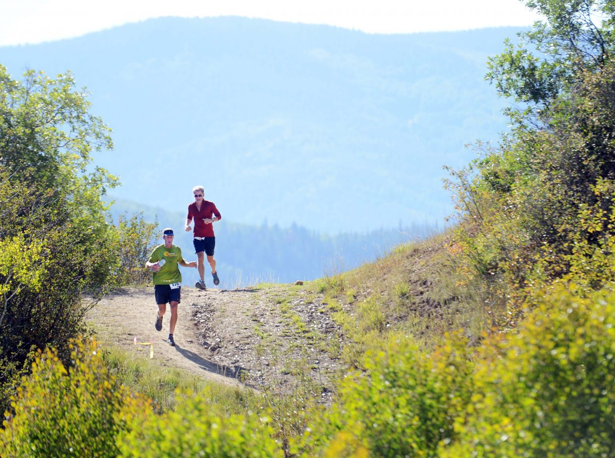 Runners come over a crest Saturday in the Steamboat Springs Running Series finale, the Emerald Mountain Trail Run.