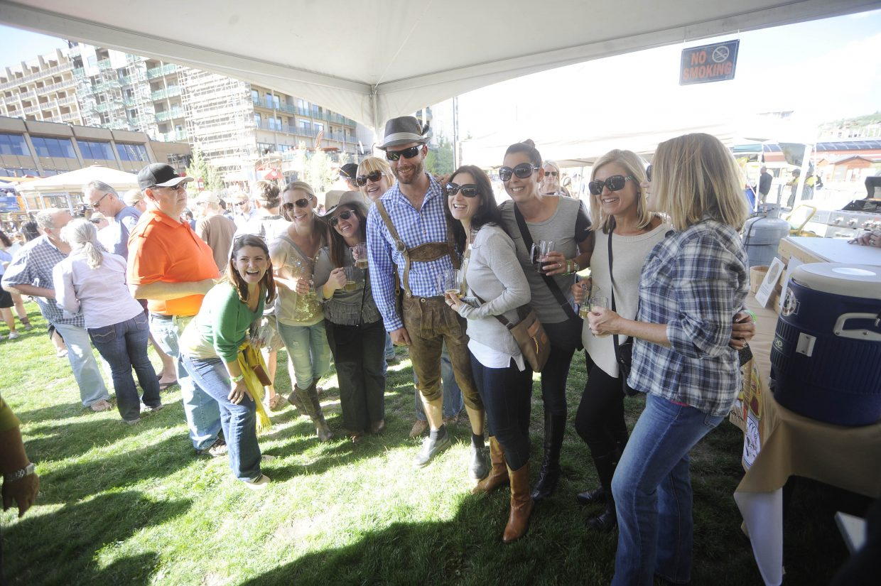 Butcherknife Brewing Co. brewer Nate Johansing's outfit was a hit with the ladies during OktoberWest on Saturday at the base of Steamboat Ski Area.