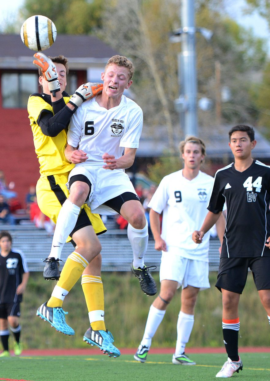 Steamboat's Charlie Beurskens and Eagle Valley's Colin Rouaud collide near the goal Tuesday. The Sailors didn't score on that opportunity, but they did put away two others to win the game, 2-0.