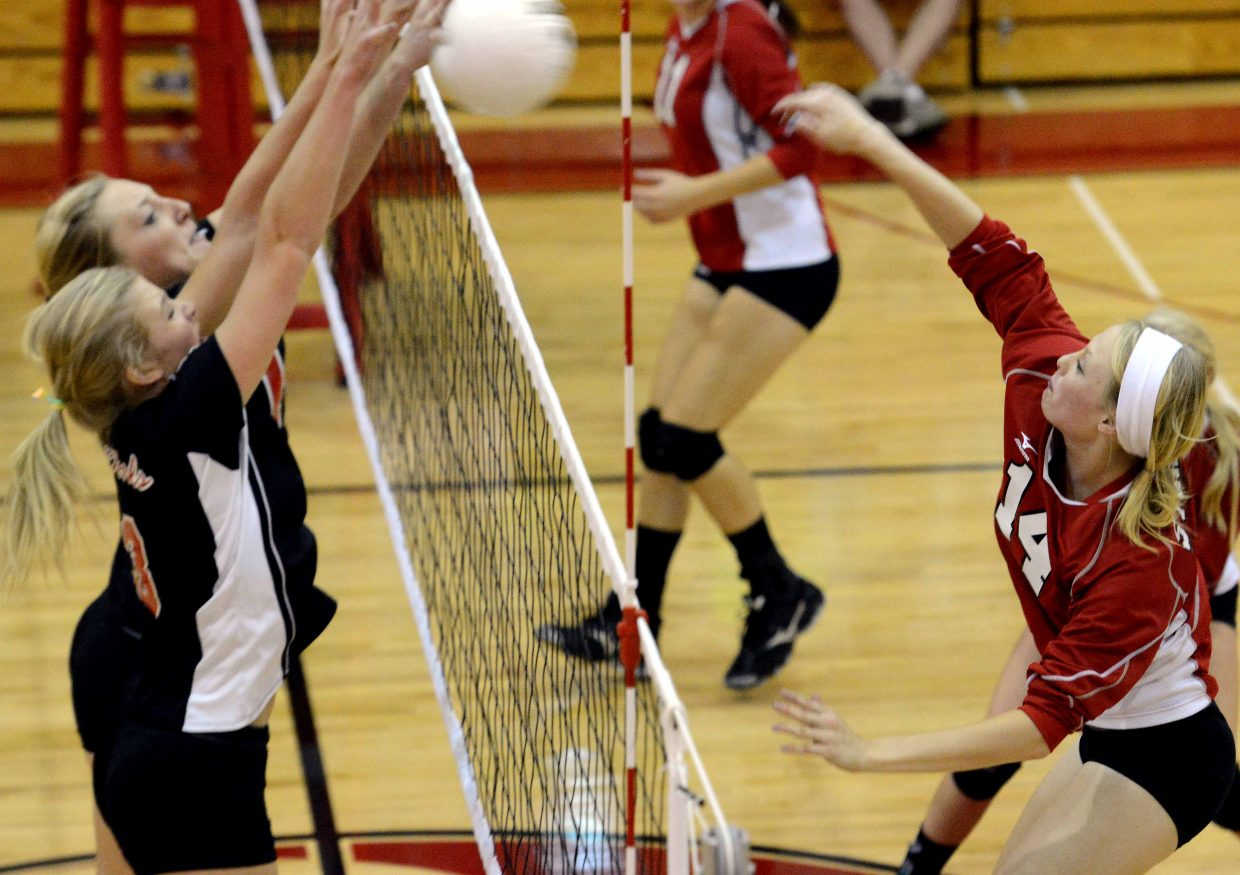 Steamboat's Mikaila Jegtvig launches a ball across the net Tuesday against Eagle Valley.
