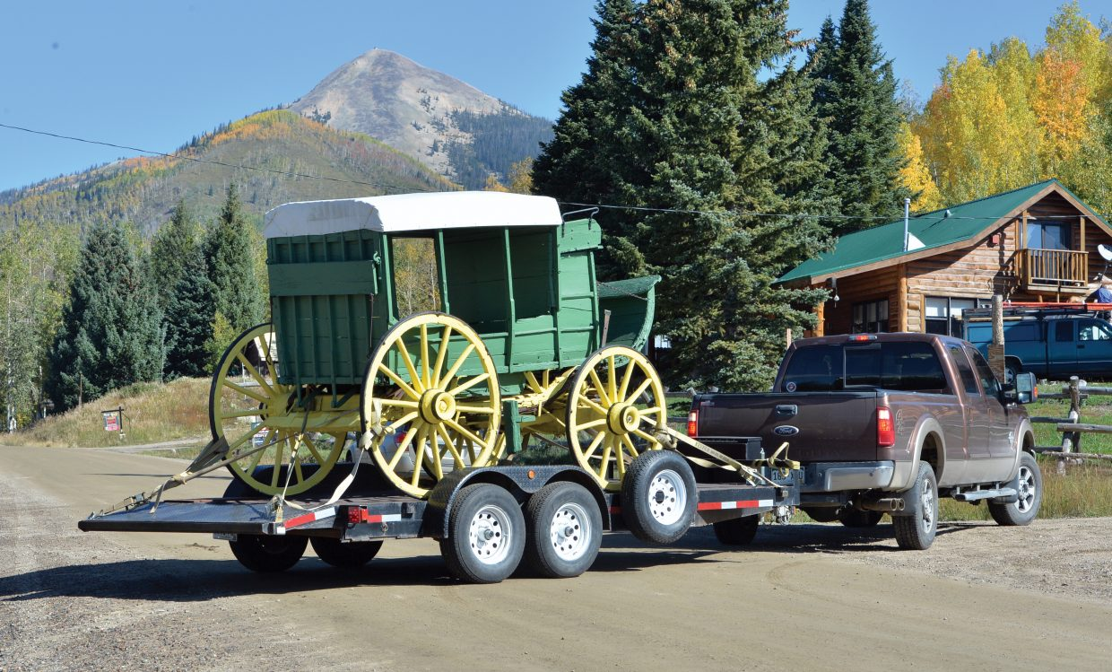 A historic stagecoach returned to the streets of Hahn's Peak on Wednesday morning. The stagecoach provided service to the mining town from the late 1800s until 1909. The Lowell Whiteman School, now Steamboat Mountain School, donated the stagecoach to the Hahn's Peak Area Historical Society. The stage was refurbished and will be on display for special occasions this winter and when the pole barn opens to visitors next summer.