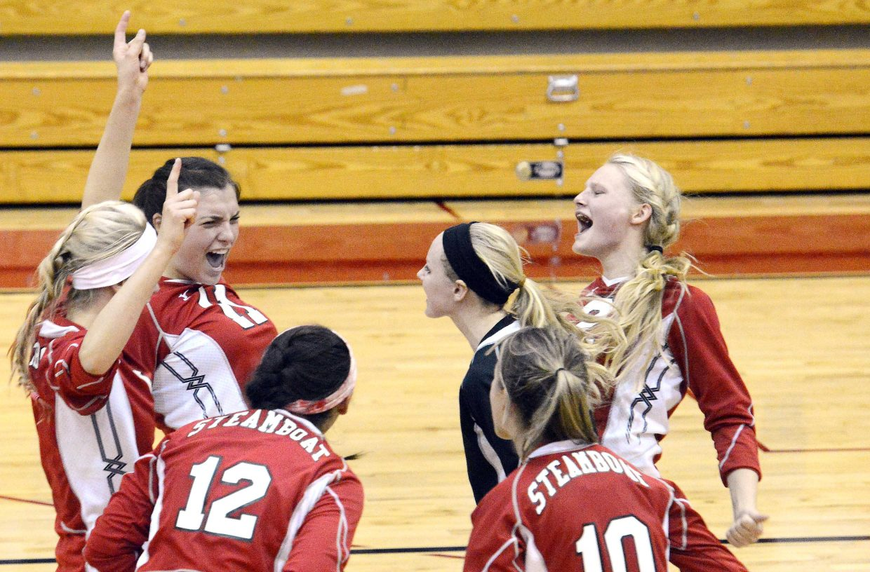 The Steamboat Springs High School volleyball team celebrates a point Tuesday night in a four-set win against Eagle Valley. The Sailors have had a lot to celebrate early this season, and they hope to keep the good times rolling Thursday and Saturday in a pair of important road games.