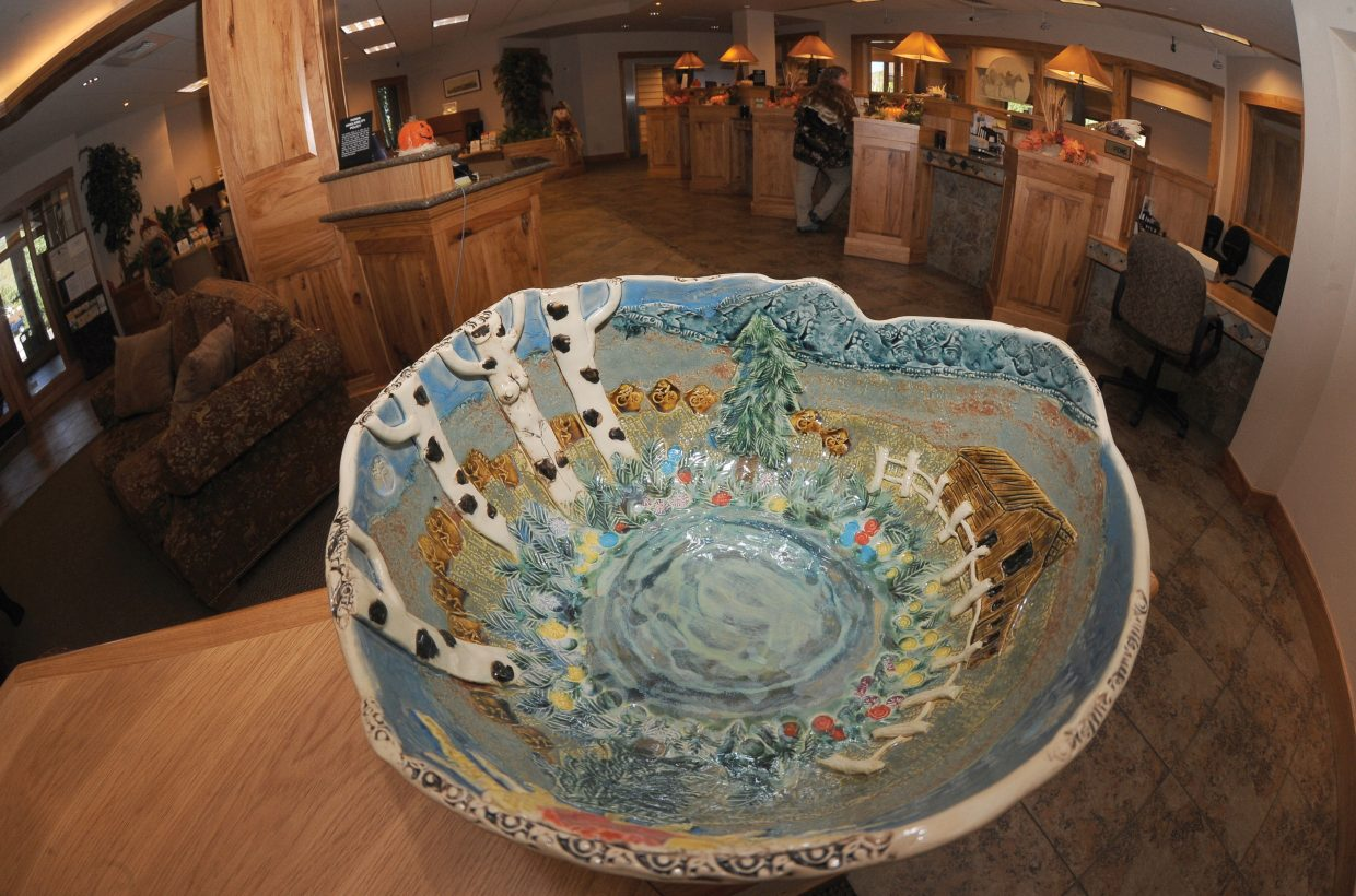 Kathy Thayer created this ceramic bowl for Bust of Steamboat. The artwork was on display at Yampa Valley Bank in Steamboat Springs as part of the annual fundraiser to battle breast cancer in the Yampa Valley. The annual Bust of Steamboat event will take place from 5 to 8 p.m. Friday at Three Peaks Grill. All the money raised stays in Routt and Moffat counties to help uninsured and underinsured women pay for mammograms, annual wellness exams and assist in breast cancer treatment costs.