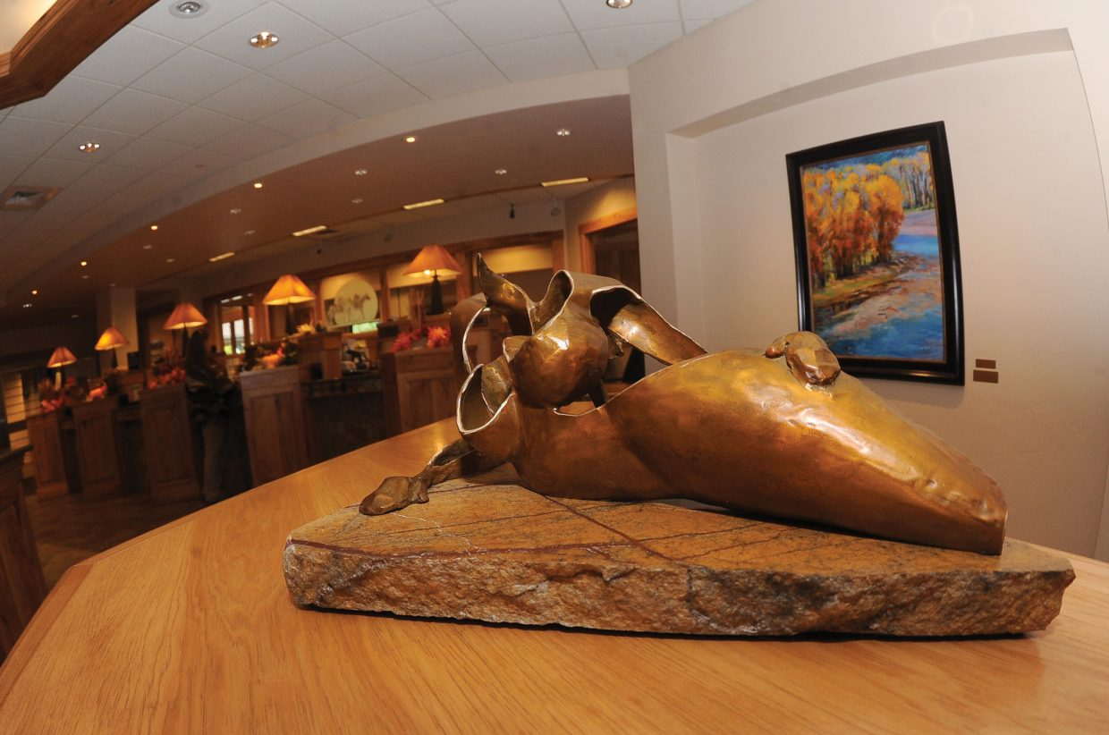 Sandy Graves created this piece for the Bust of Steamboat fundraiser. Graves' artwork was on display at Yampa Valley Bank in Steamboat Springs.