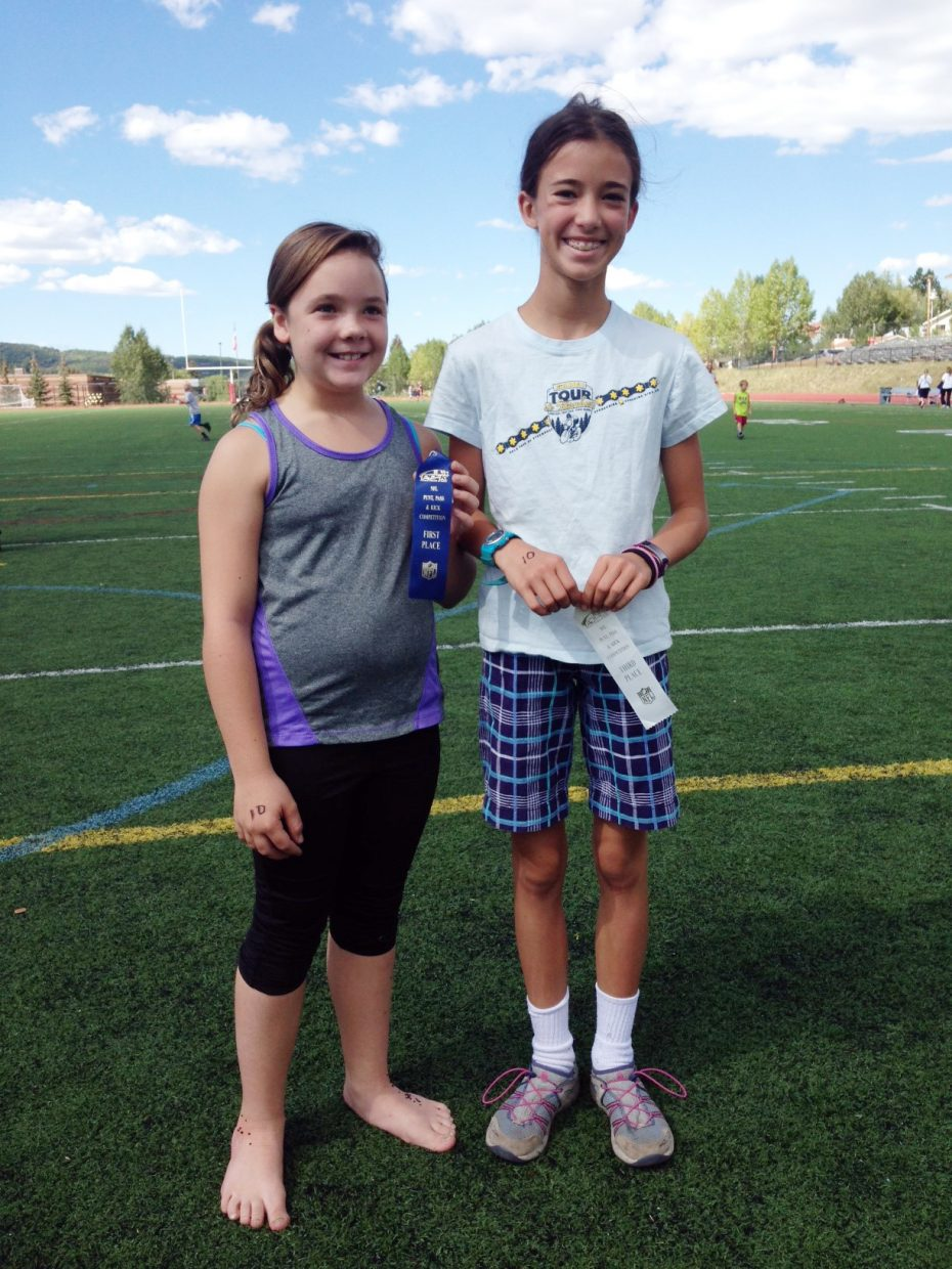Kaetlyn Friedeman, left, won the girls ages 10 and 11 division of the Punt, Pass and Kick event Saturday in Steamboat Springs. Elna Rawlings, right, was third. Julia McCarthy, not pictured, finished second.