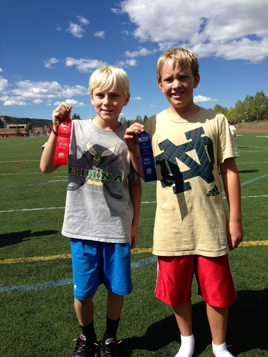 Jack Becker, right, won, and Ryan McNamara was second in the boys 10 and 11 division of the Punt, Pass and Kick event Saturday in Steamboat Springs.