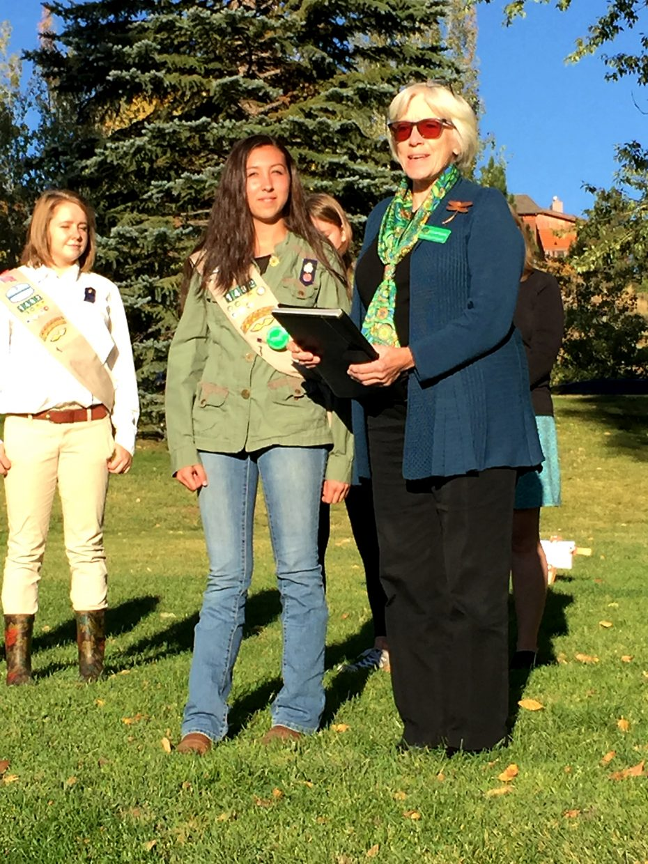Cricket Hawkins, right, team lead for mountain communities with the Girl Scouts of Colorado, presents Girl Scout and Steamboat Springs resident Katelyn Ibarra, with the organization's prestigious Medal of Honor. Ibarra, 16, was honored for her actions March 29, when she rushed to aid passengers on a Steamboat Springs Transit bus following a crash on U.S. Highway 40 near its intersection with Routt County Road 44.