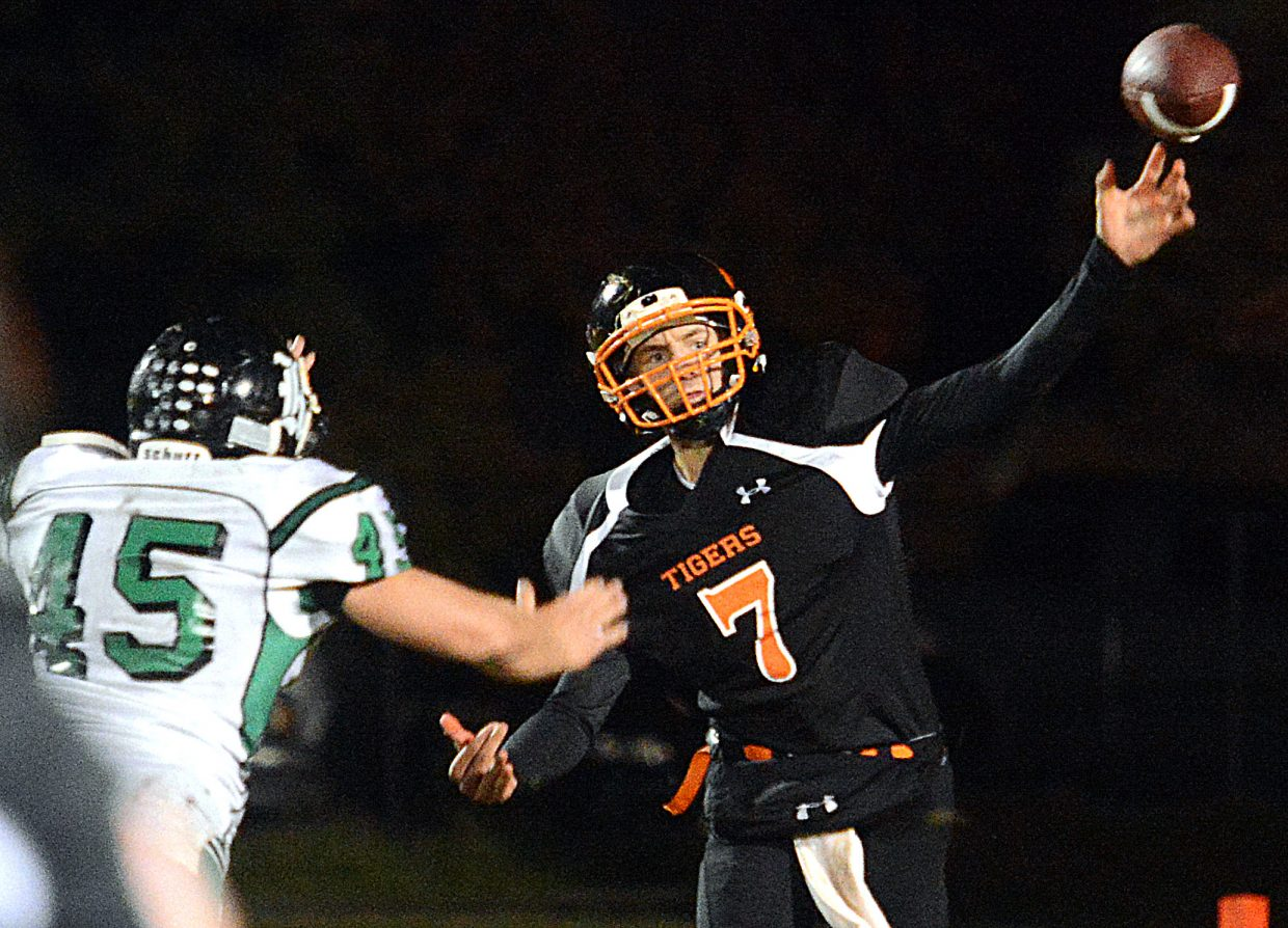 Hayden's Isaac Bridges lets go of a pass Friday night against Rangely.