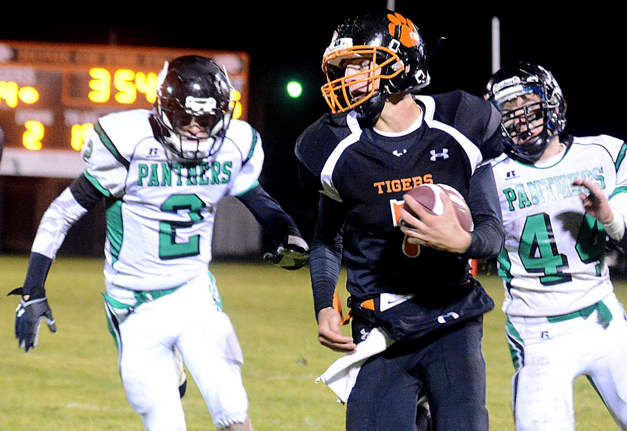 Hayden's Isaac Bridges runs for a big first down late in Friday's game against Rangely.