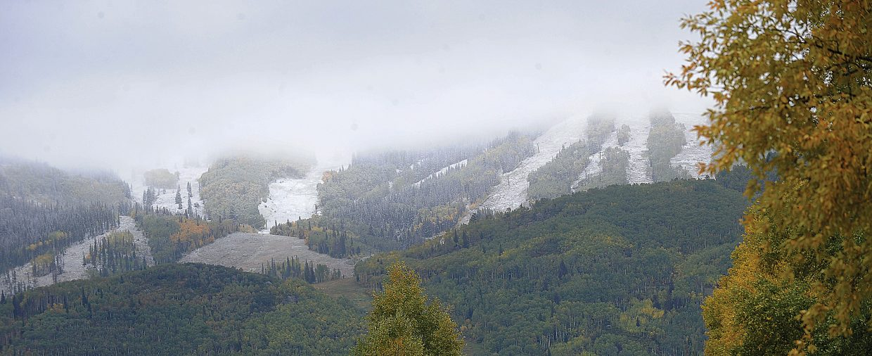 Snow could be seen on the lower slopes of Steamboat Ski Area on Friday morning in Steamboat Springs.