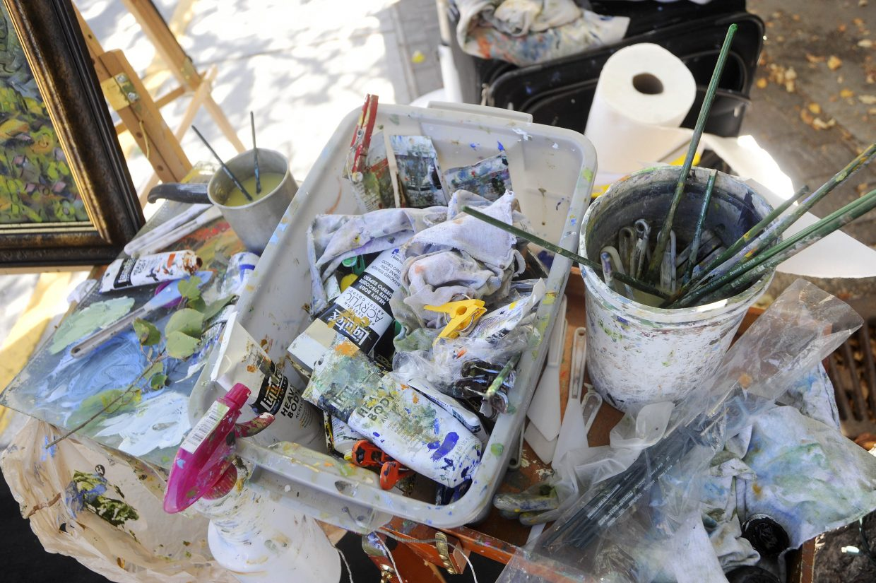 Steamboat Springs artist Jaen Carol's paints and brushes.