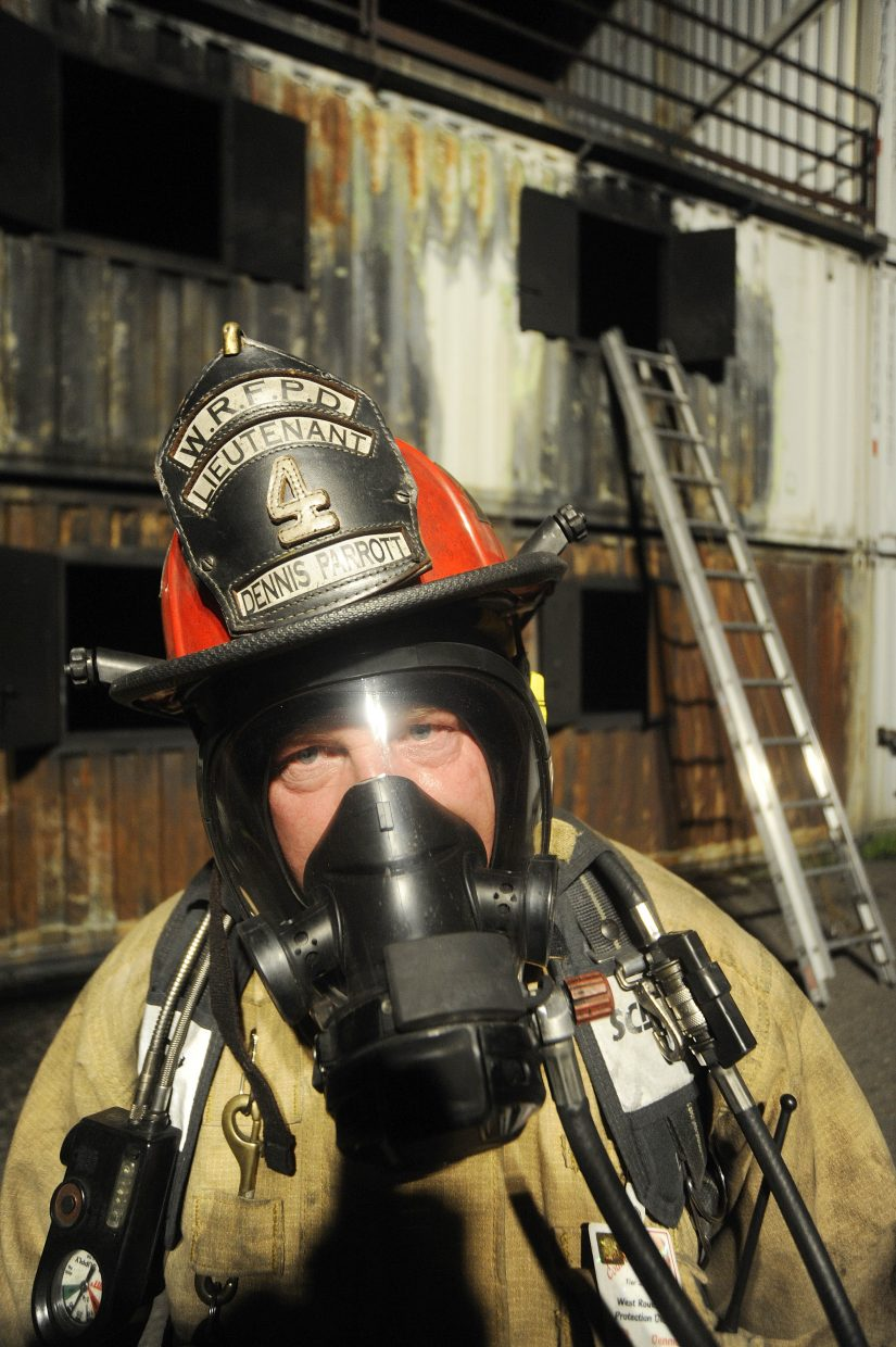 Hayden firefighter Dennis Parrott trains Sept. 17 at the Hayden fire training facility.