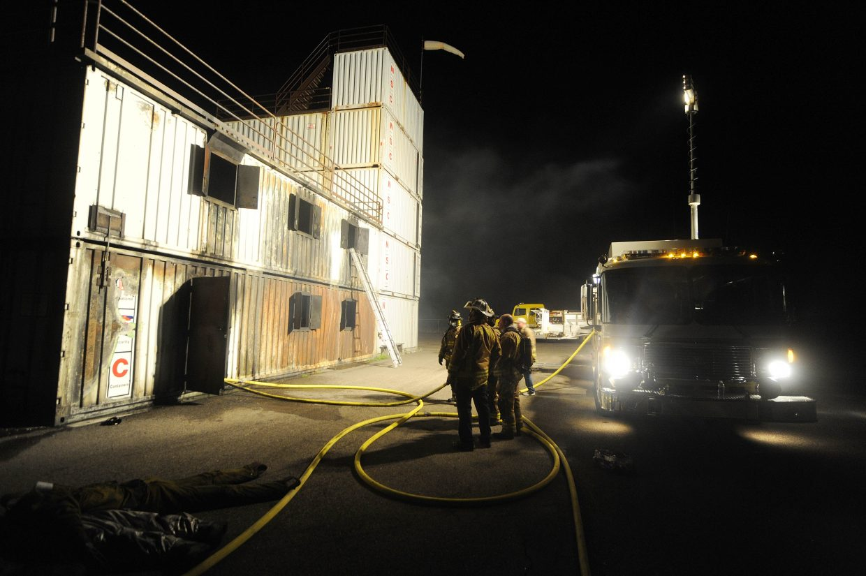West Routt Fire Protection District firefighters train Sept. 17 at the Hayden fire training facility.