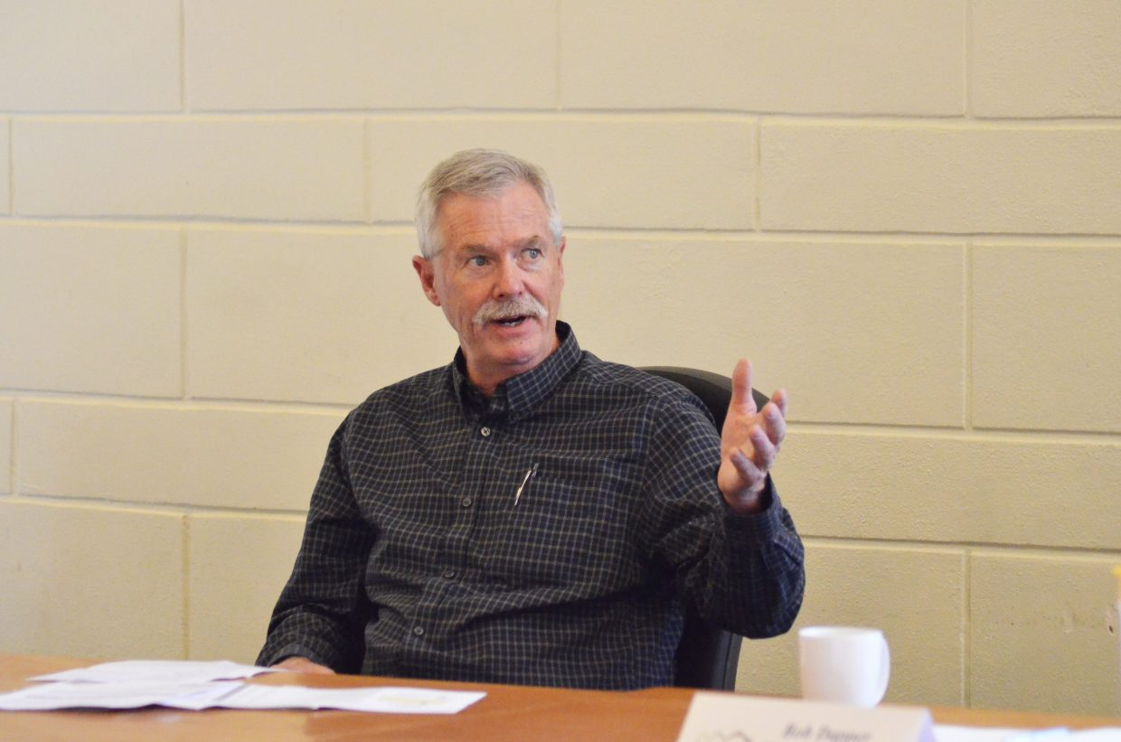Routt County Board of Commissioners District 1 incumbent Tim Corrigan speaks during the First Impressions of Routt County annual candidates forum Wednesday.