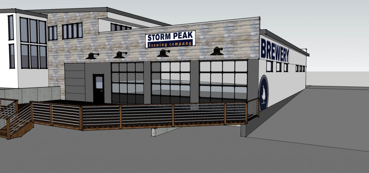 Storm Peak Brewing Company's new home will feature a west-facing patio in front of three existing garage doors.
