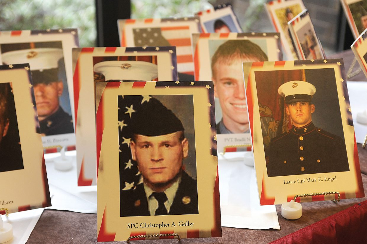The Hall of Heroes on display at the Sheraton Steamboat Resort this weekend was a part of the Gold Star Family Weekend attended by about 170 family members of those who have died while serving.