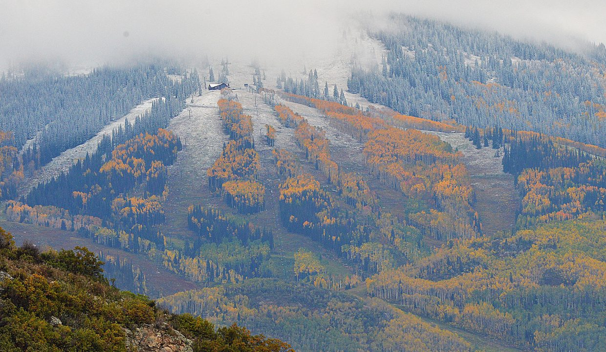 A dusting of snow could be seen Tuesday morning as the cloud cover surrounding Mount Werner began to lift. The snow is a good reminder that ski season can't be far away.