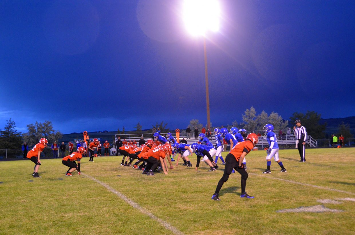 The members of Craig Middle School's eighth-grade football team lines up against the Steamboat Springs Sailors in a late Tuesday game at the Moffat County High School Bulldog Proving Grounds. The eighth-graders won, 54-20, and the seventh-graders won, 22-0, in special games at the MCHS field.
