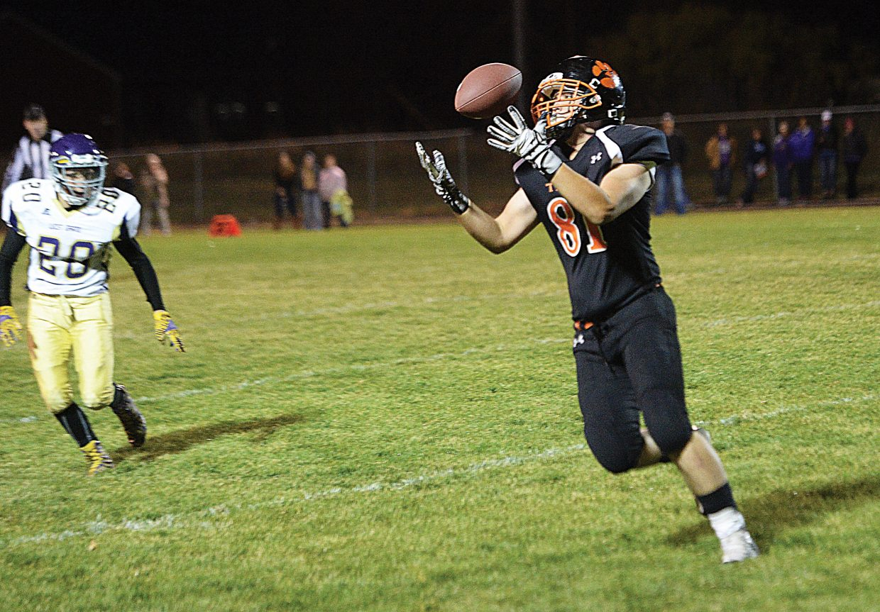 Hayden tight end Richard Hallenbeck pulls in a pass during Friday night's homecoming game against The West Grand Mustangs. Hallenbeck had a touchdown catch and a fumble recovery in the 53-18 loss.