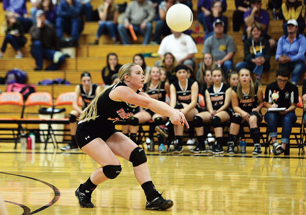 Hayden's Jessika Hockett receives a ball during the Tigers' homecoming match against West Grand Friday in Hayden. The West Grand Mustangs defeated the home team in three-straight sets, 25-9, 25-10 and 25-17.