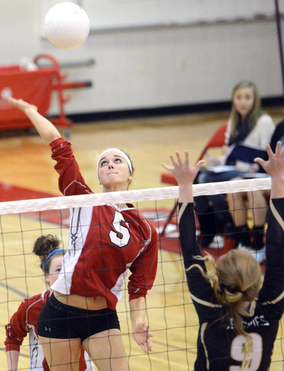 Steamboat's Taylor Harrington hits the ball Tuesday against Battle Mountain.