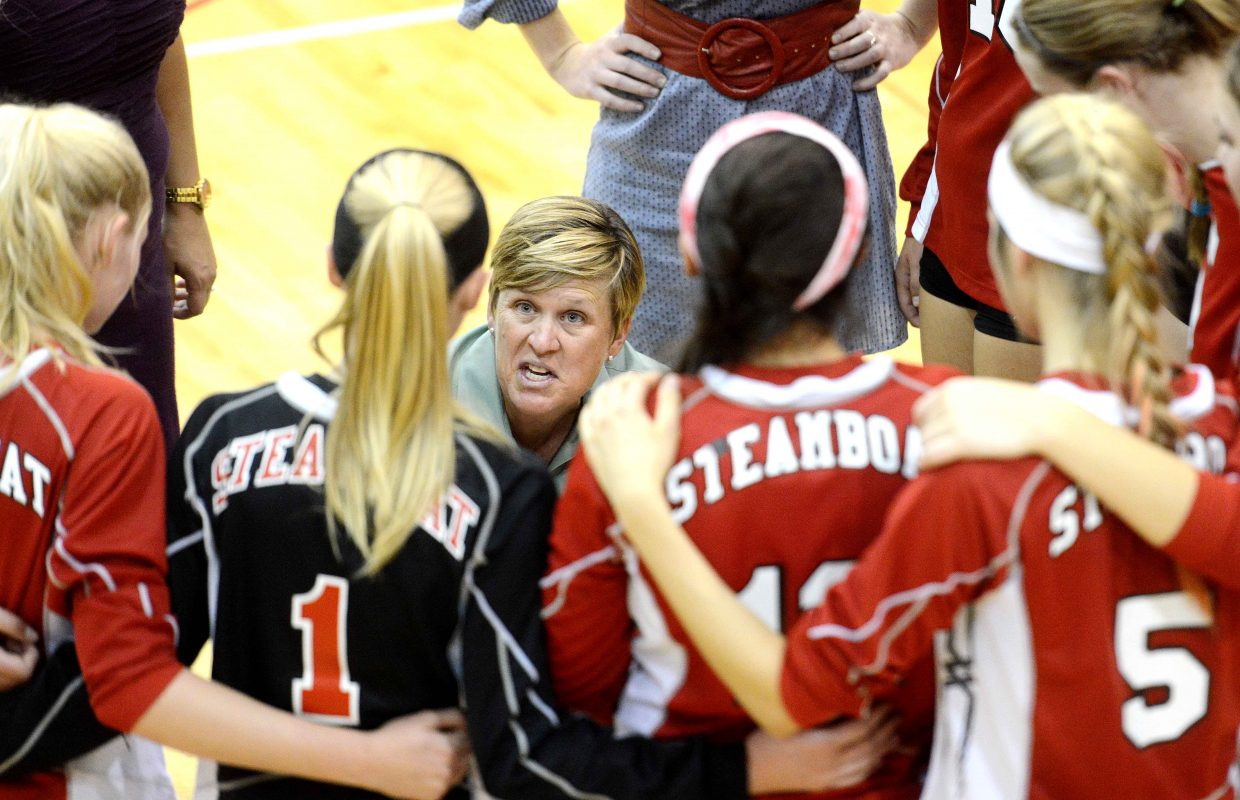 Steamboat coach Wendy Hall talks to her team Tuesday.