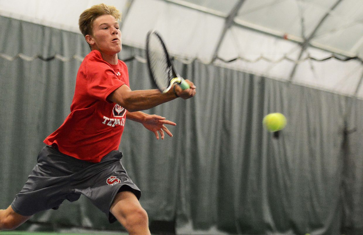 Steamboat's Britt Walton leans in for a shot Saturday while playing against Kent Denver. Walton was a standout tennis player in junior high but gave the sport up, until this season. He's been shaking off rust but is poised for a great finish to his junior season.