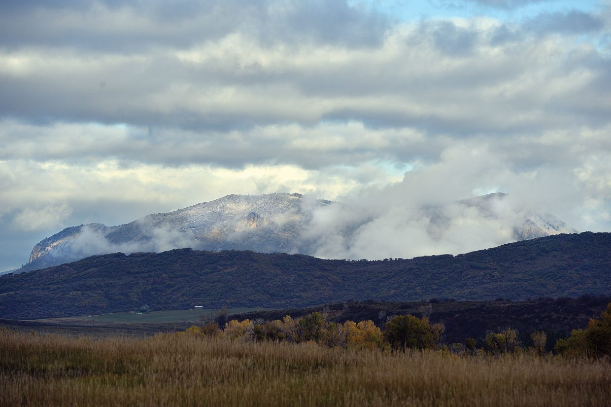 A layer of clouds blankets Sleeping Giant on Thursday morning.