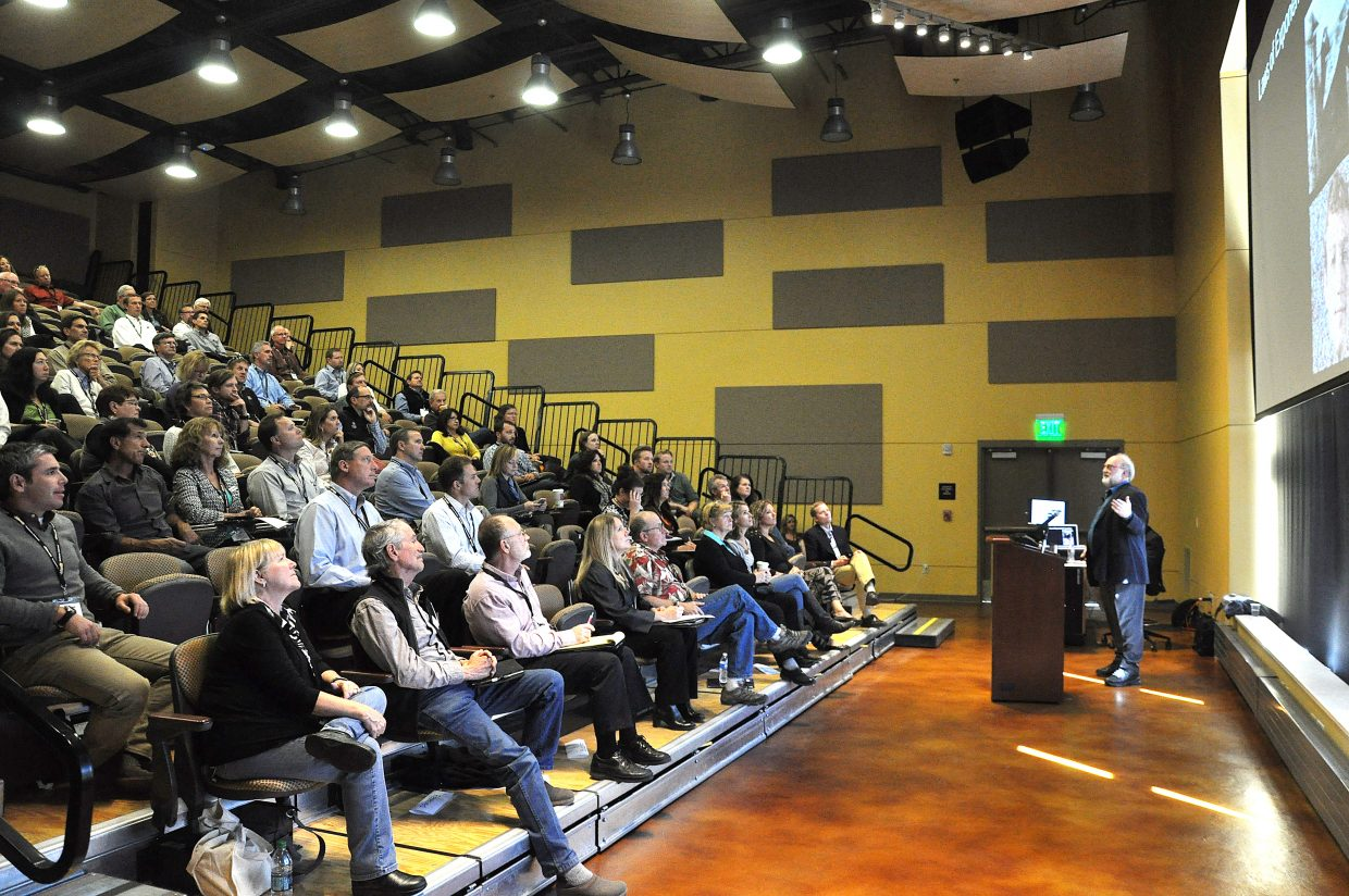Futurist Thomas Frey speaks to attendees of the Steamboat Springs Economic Summit on Friday at Colorado Mountain College.