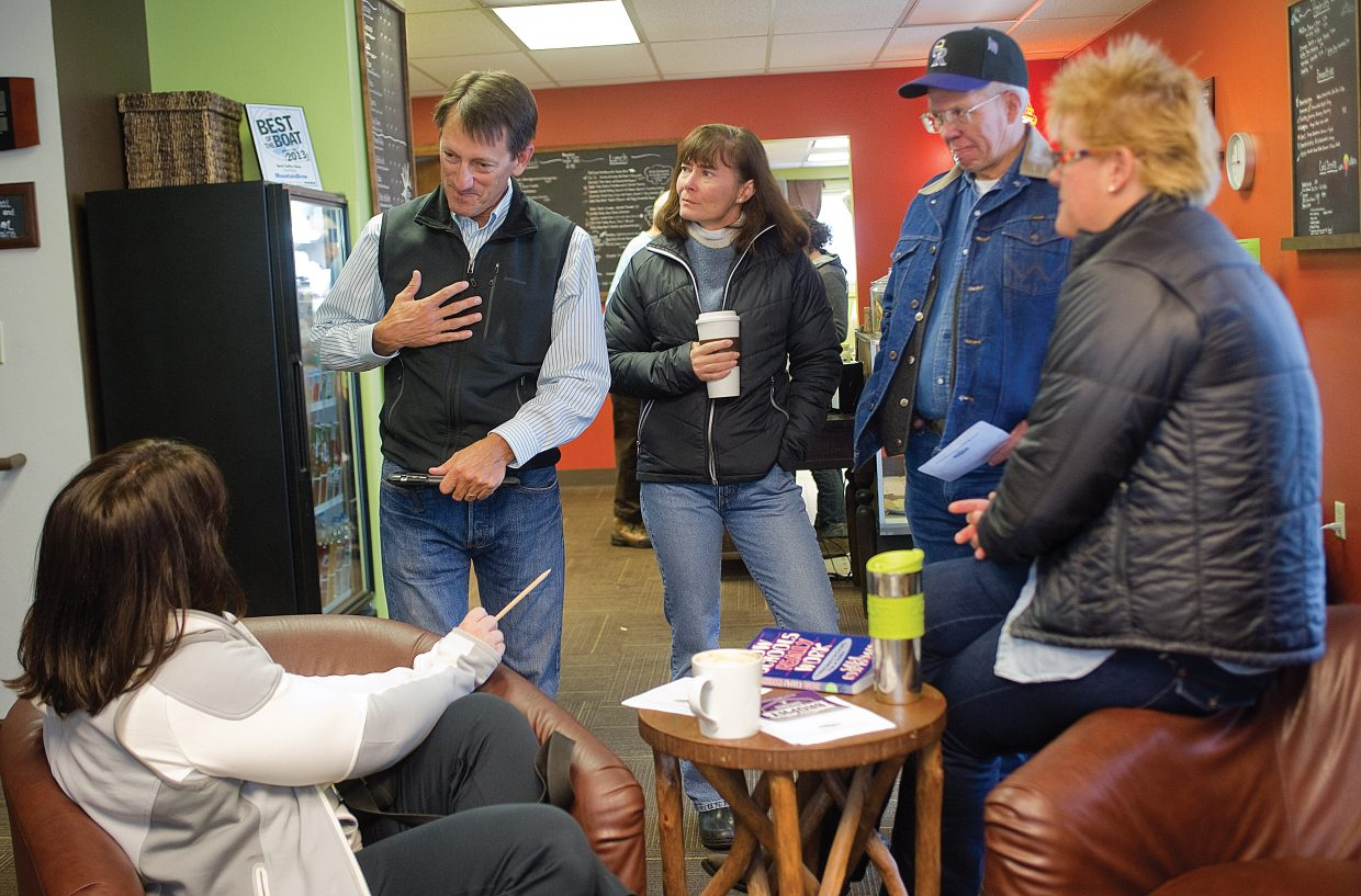 Republican gubernatorial candidate Greg Brophy visits with customers and supporters at the MountainBrew coffee shop in Steamboat Springs on Friday morning. Brophy was in town for an informal meet-and-greet.