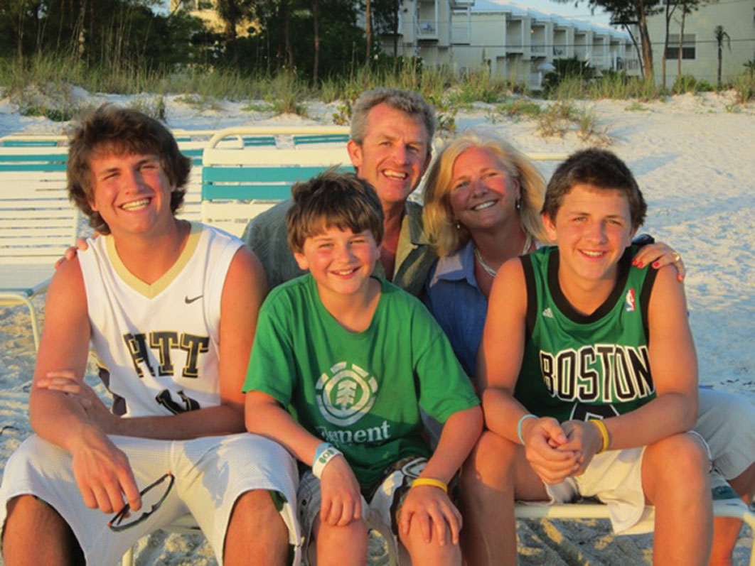 The Whartons on vacation in Florida: Pictured, front row from left, are John, Peter and Ben, and back row from left, PJ and Amy.