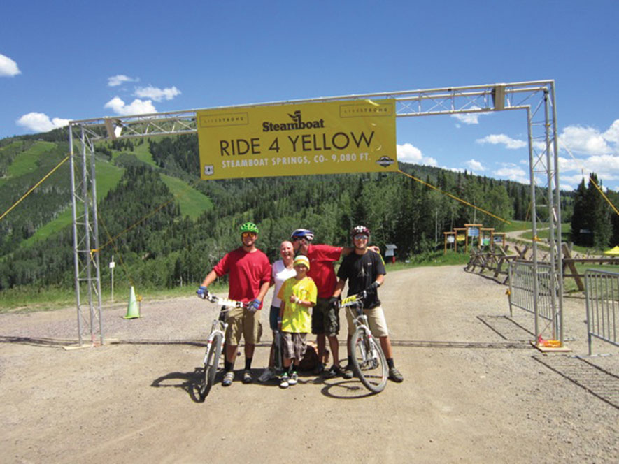 The Whartons came together as Team PB&J for the Ride 4 Yellow event in Steamboat Springs when Amy was undergoing treatment for breast cancer.