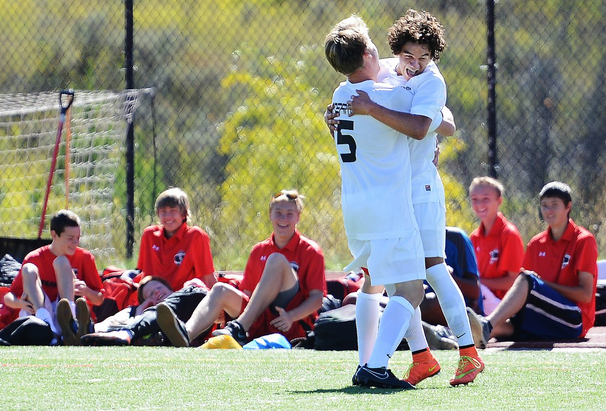 Cruz Archuleta, right, and Will Petersen celebrate after Archuleta looped a ball over the Delta goalkeeper on Saturday, giving the Sailors a 1-0 lead. Steamboat went on to a 2-0 win in the game.