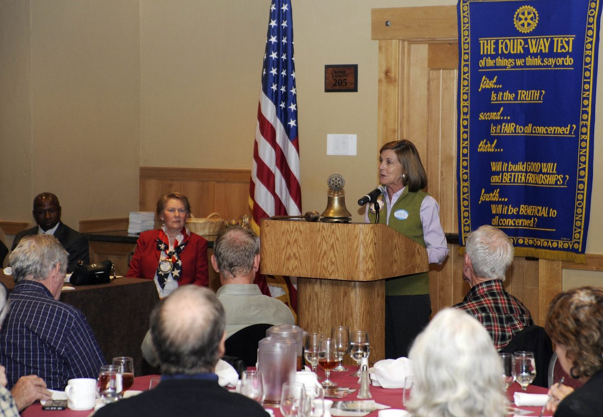 Gail Schwartz, a Democrat running for the 3rd Congressional District, speaks Tuesday to the Rotary Club of Steamboat Springs.