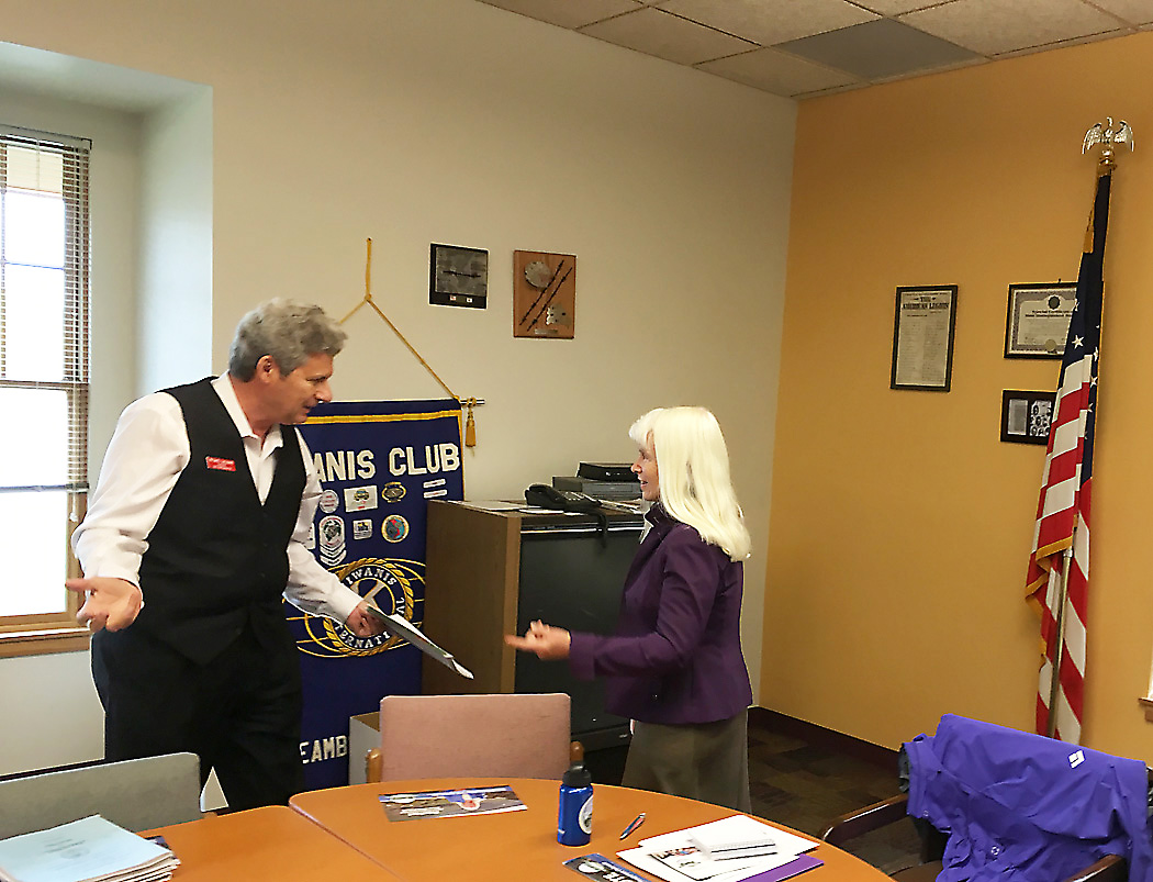 Colorado House District 26 candidates, Republican challenger Michael Cacioppo, left, and incumbent Democrat Diane Mitsch Bush, right, exchange cordial greetings prior to responding to questions from the members of the Steamboat Springs Kiwanis Club Oct. 4.