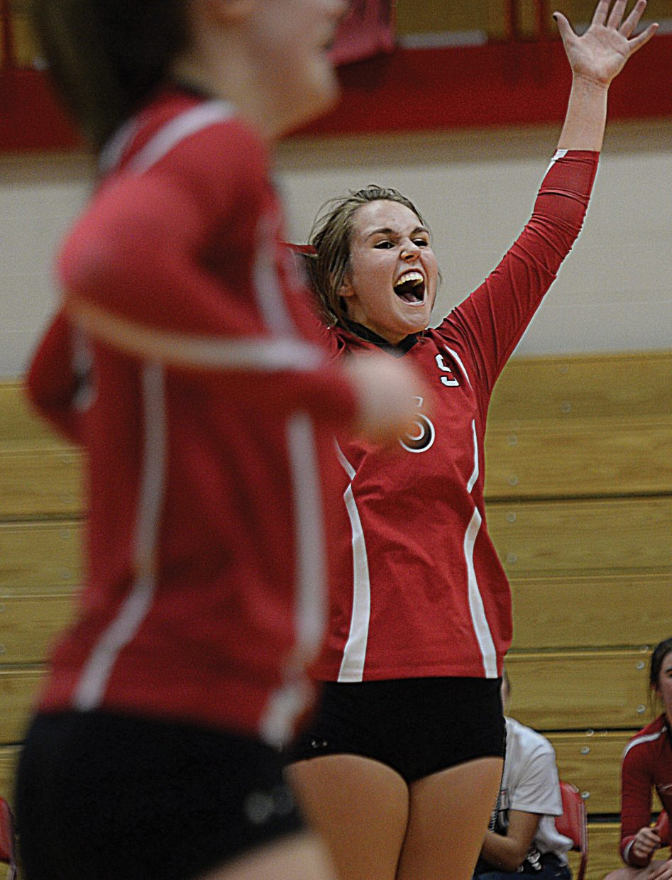 Steamboat Springs Micah Feeley celebrates after Steamboat won the second game of Thursday night's match against Summit.