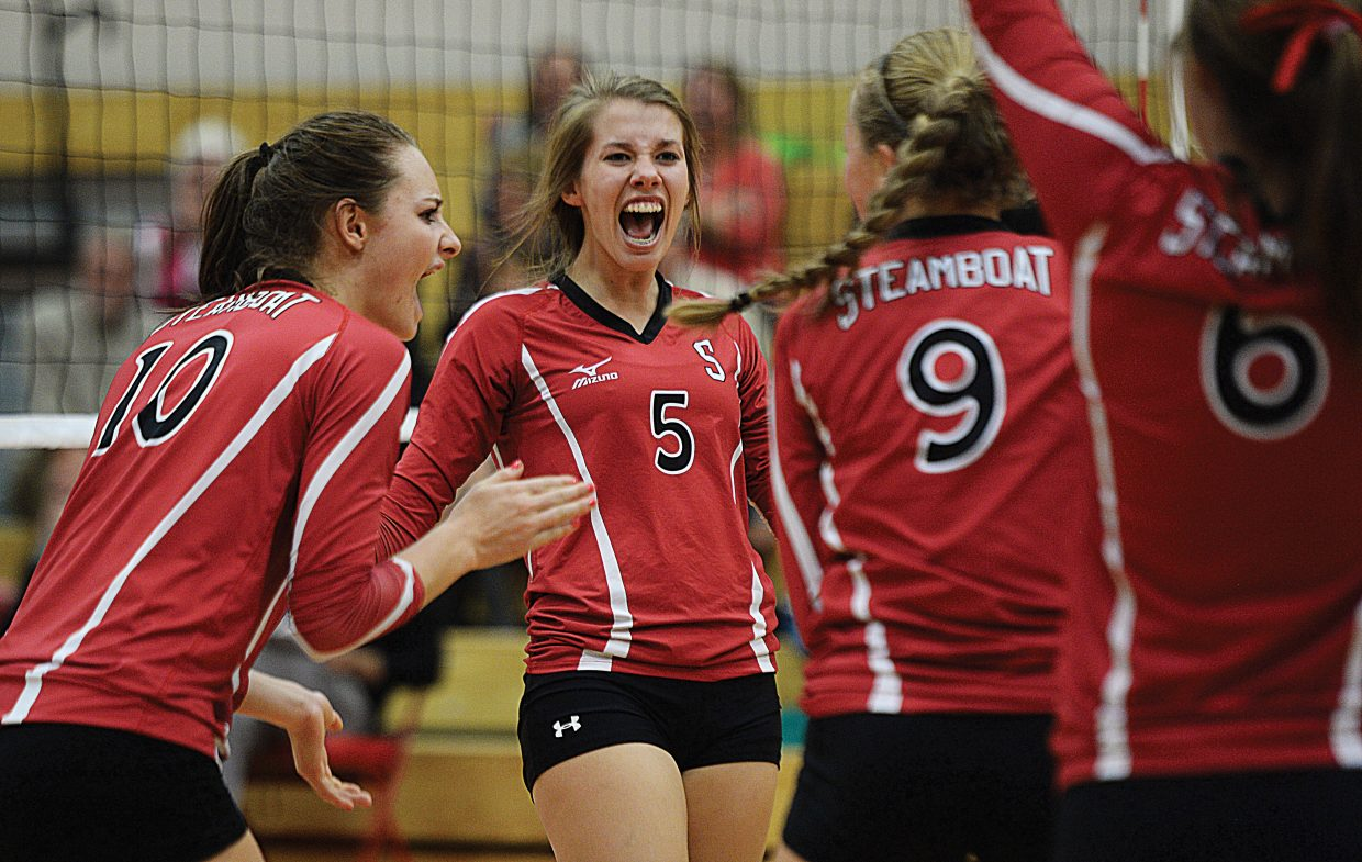Steamboat Springs Sammie Stevenson celebrated after winning a point in Thursday's match against Summit in Steamboat. Stevenson had a pair of kills as the Sailors rolled past Summit in three straight games.