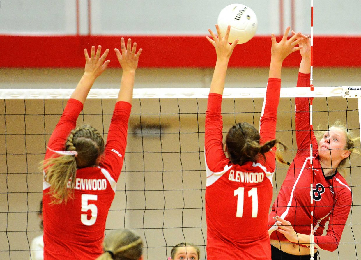 Steamboat's Riley Wilkinson puts the ball over the net Tuesday against Glenwood Springs. The Sailors won in three sets, improving their record to 13-2.
