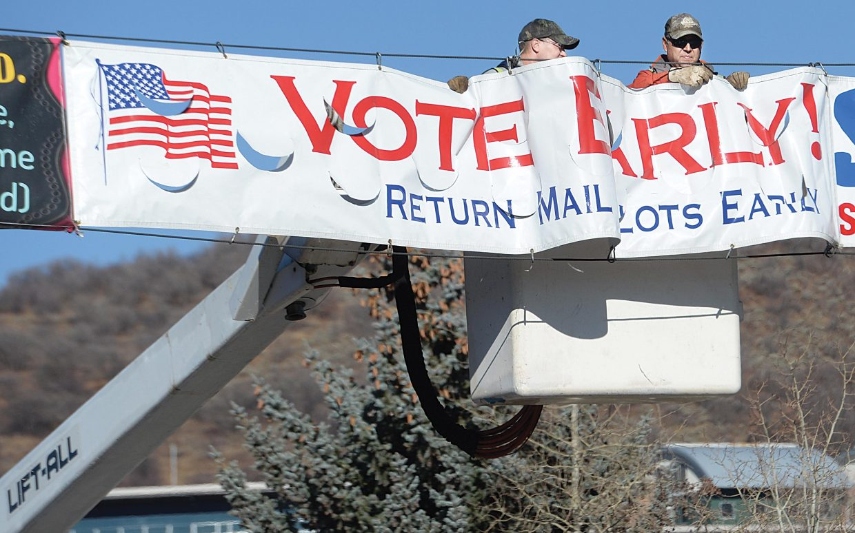 It's a sure sign the election is drawing to a close. On Monday, city of Steamboat Springs workers Eric Heintz, left, and Gus Trujillo take down a banner encouraging people to vote early. Today marks the final chance for voters to weigh in on several issues including who will be the next president of the United States.