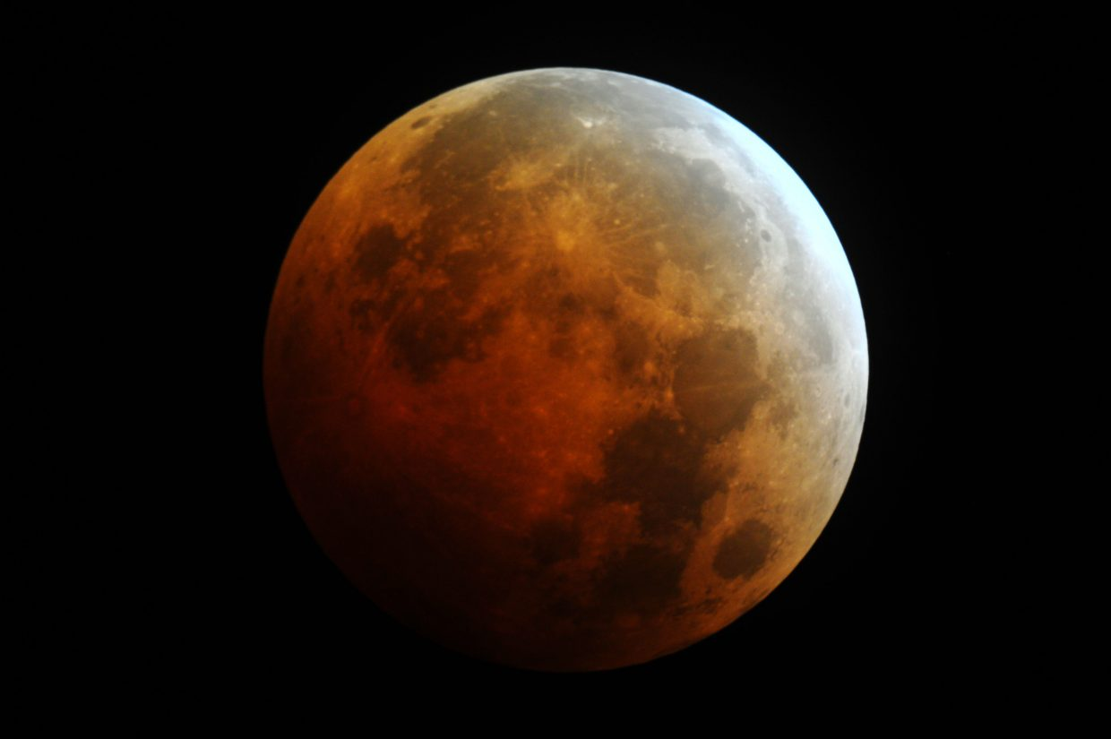 This image of the lunar eclipse Wednesday morning was taken from Stagecoach at 5:02 a.m. using an 8-inch Celestron telescope. It's a 2-second exposure at ISO 1600. The high cirrus clouds were troublesome, but there were a few breaks in the haze where the eclipse shone through beautifully.