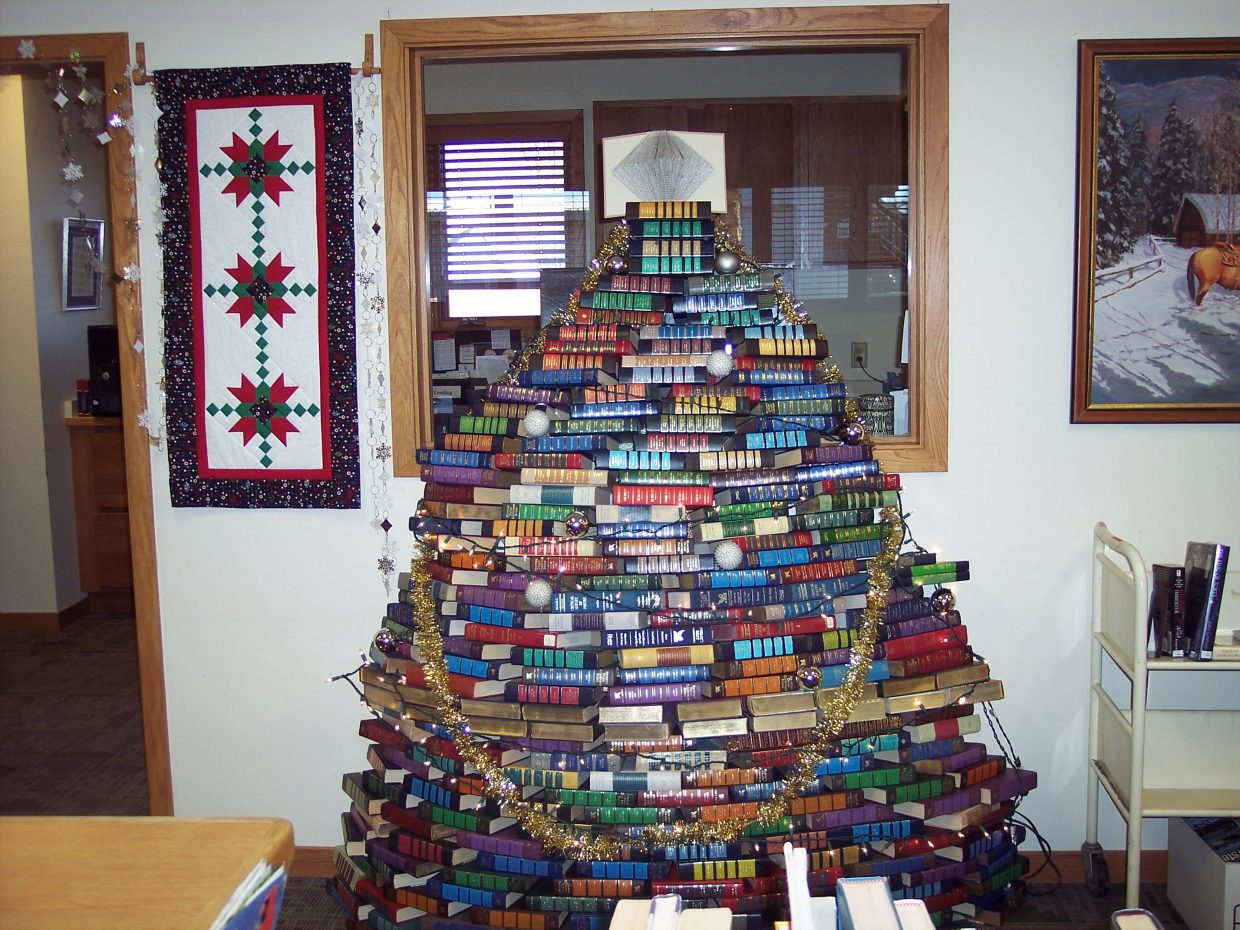 A book tree that was made by Librarian Ana Lash and Library Clerk Laurie Hallenbeck is on display at the Hayden Public Library. Submitted by: Laurie Hallenbeck.