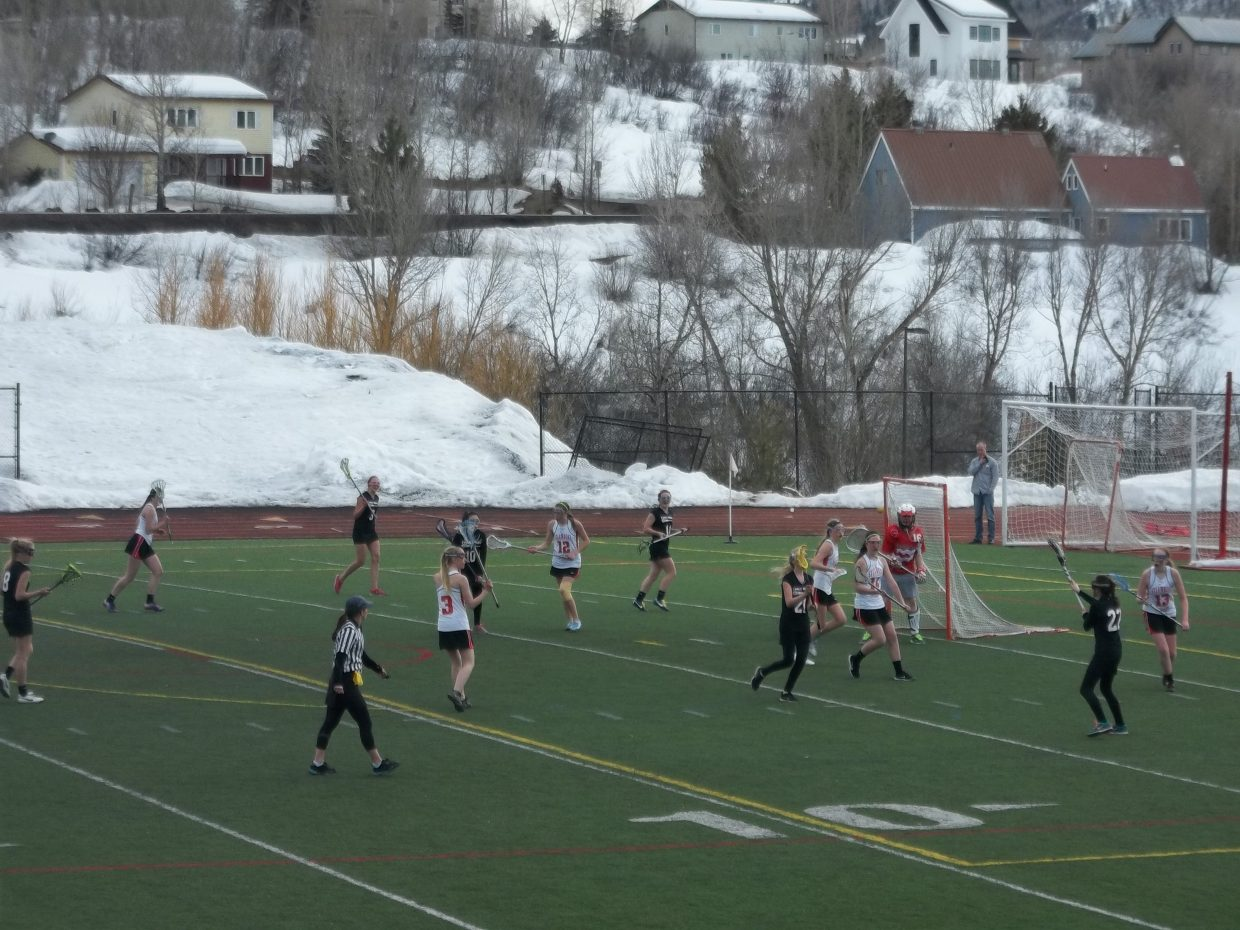 Summer Dorr was in goal for the second half of Steamboat Springs' lacrosse match against Eagle Valley on Friday. Submitted by William James Dorr.