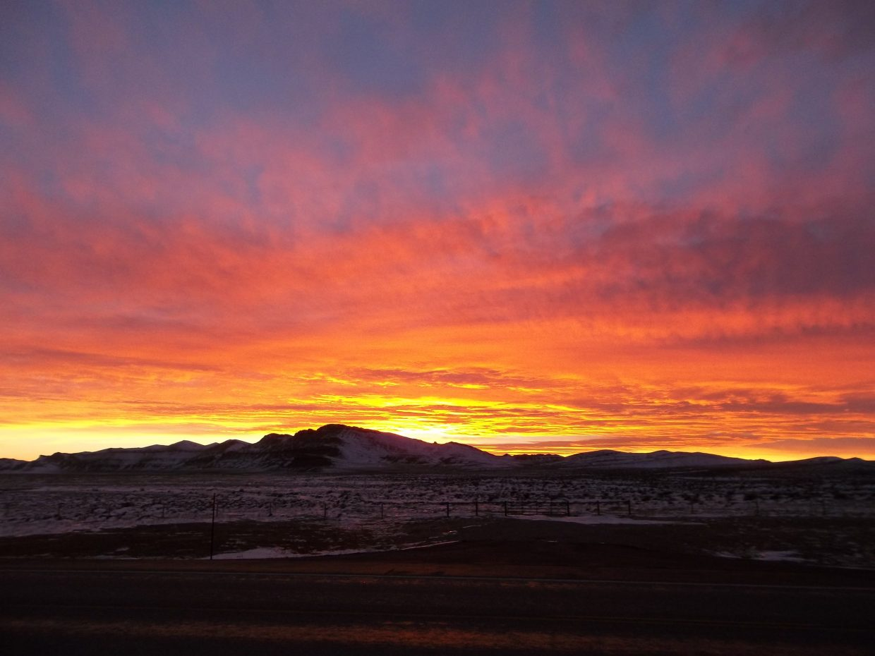 Sunset, near Lander, Wyoming. Submitted by: Bill Dorr.