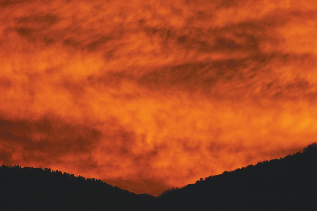 The sky west of Steamboat Springs took on a bright orange appearance shortly before the sun set Wednesday evening.