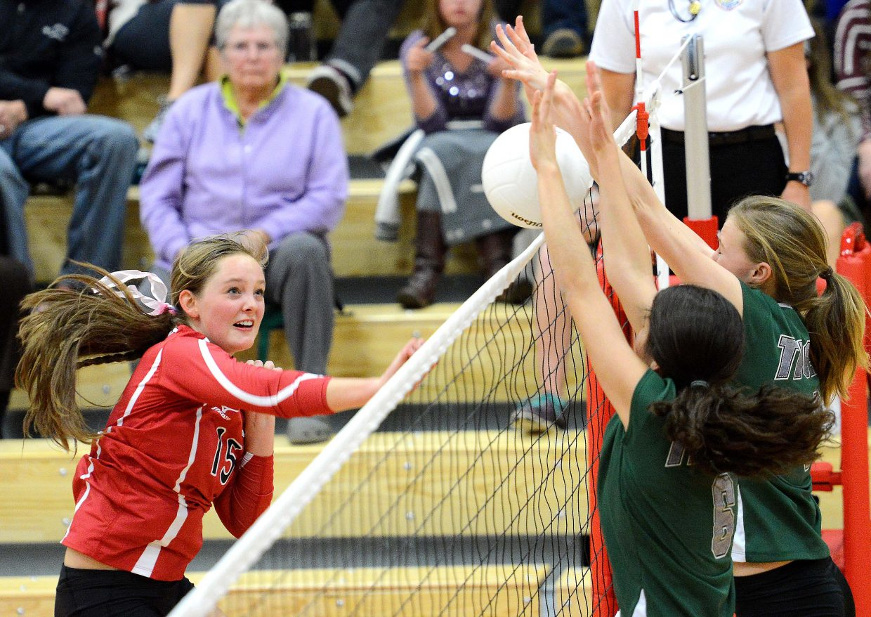 Steamboat's Jenna Miller gets a shot into the Summit defense Thursday. Miller and the Sailors won Thursday's match in three sets, improving to 14-2 on the season.