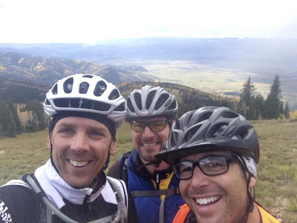 4 Yellow Foundation supporters, from right, Dave Nagel, Kerry Shea and Alan Johnson are pictured Sept. 29 while riding the Continental Divide Trail in honor of the 4 Yellow cause.